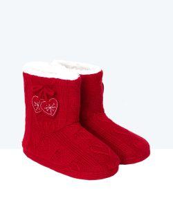 bottines fourées rouge